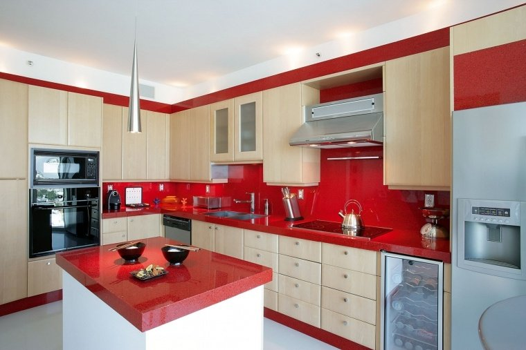 Spanish Kitchen Design Ideas With Red Color Marble ~ Bold countertop colors from granite selection