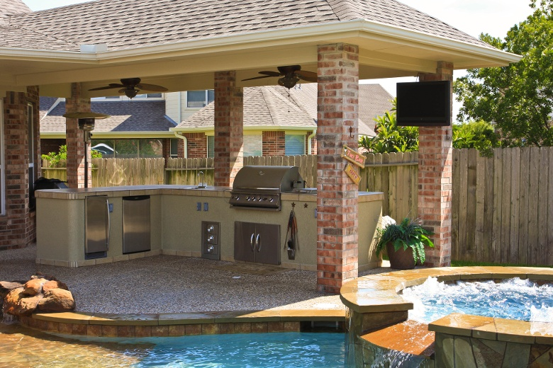 Covered Area Outdoor Kitchen With Pool
