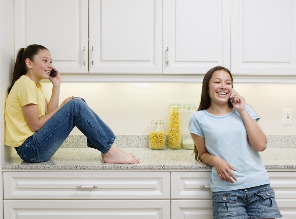 sitting on quartz countertop