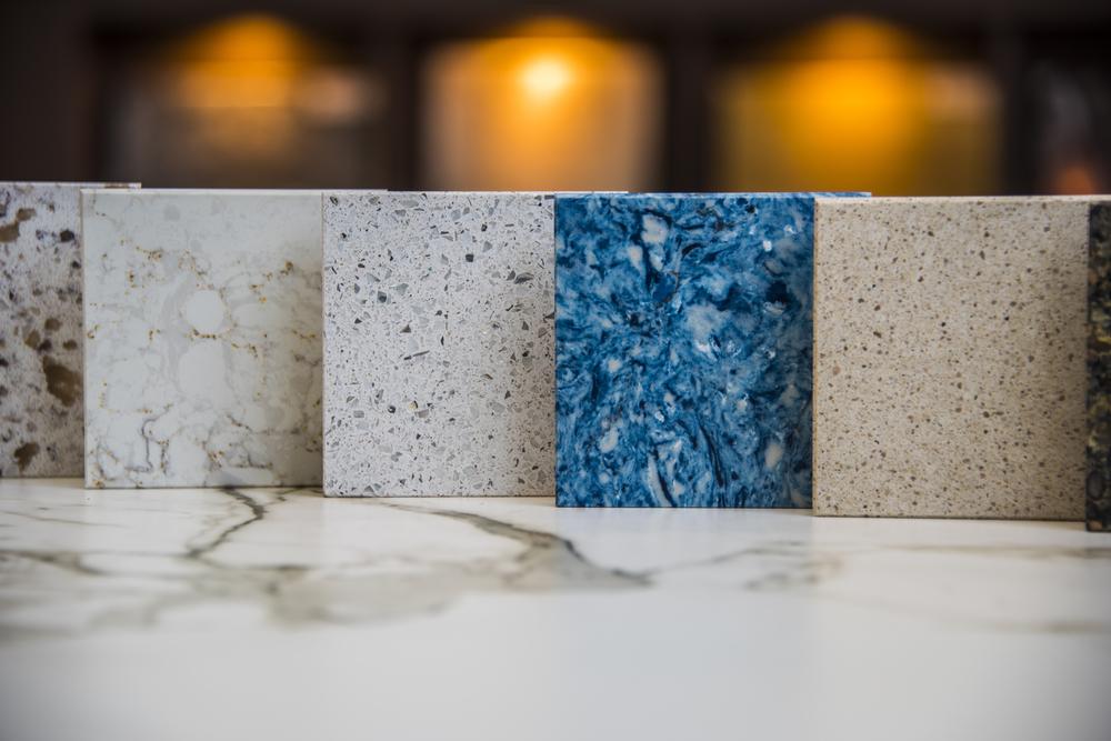 choose between granite, quartz, and marble